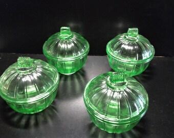 Set of 4 molded 1950 glass jar