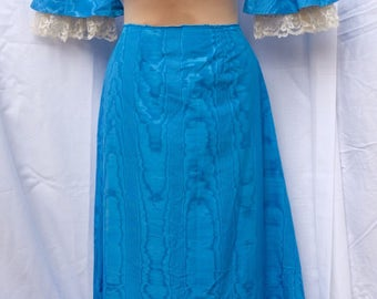 Homemade unfinished watermark Taffeta maxi dress.1960s,skirt,blouse,top,velvet and lace trim ,upcycle,bright blue ,