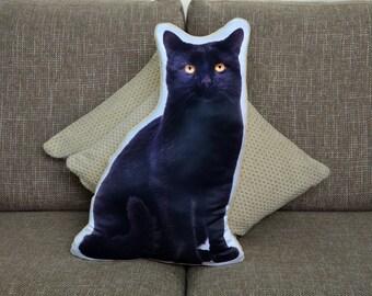 Adorable Black Cat Shape Cushion