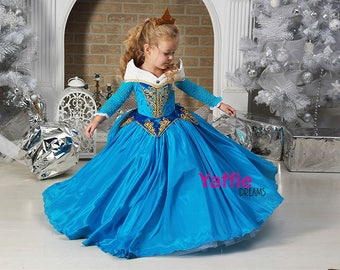 Blue Princess Aurora dress Disney Halloween costume flower girl gown cosplay Sleeping Beauty Rose princess birthday christmas gift for girl