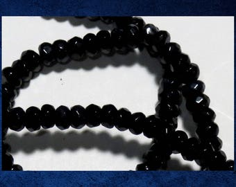 """Agate, Black - 15"""" strand of 3x4mm faceted rondelle. Approx 125 gemstone beads. #AGAT-460"""