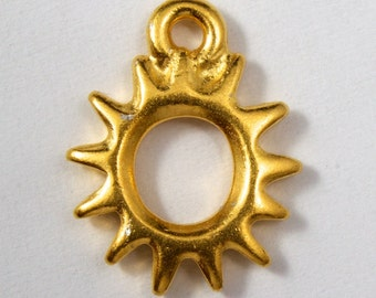 11mm Antique Gold Tierracast Pewter Radiant Sun Charm #CKB027