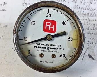 Vintage Parker Hannifin Pneumatic Division Des Planes IL Gauge steampunk industrial round