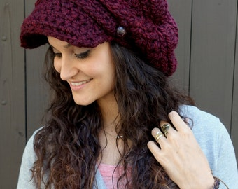 Slouchy Hat Handmade Crochet Knit Cap Newsboy Cap Two Leather Button Band Hat - Marsala or CHOOSE Color