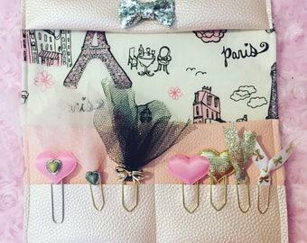 Planner clip organizer, craft room decor, fabric, faux leather organizer, pink, glitter,