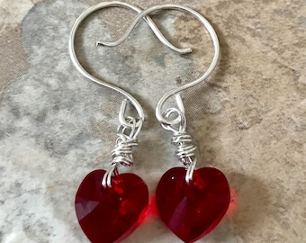Brilliant Red Heart  Earrings Swarovski Crystal Sterling Silver Gift Giving Gifts for Her Classic Red Jewelry Silver