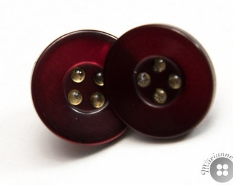 Shiny wine-red button earrings - Boucles d'oreille boutons rouge vin