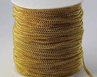 NEWnew 100 ft Gold Plated SOLDERED FACET sturdy Chunky Curb Chain - 2.7mm width Solder link - with Free Matching Jumpring (100 pcs)