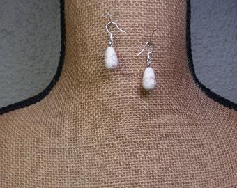 White Turquoise Gemstone 925 Silver Earrings