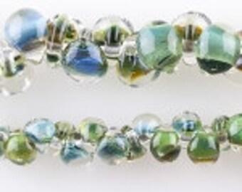 10 Mini Teardrop Handmade Lampwork Beads --Multi Forest Green 4mm (22335)