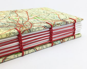 Personalised Travel Journal, Midlands Map Journal, Coventry, Luton, Recycled Map Notebook, Map Journal, Travel Notebook