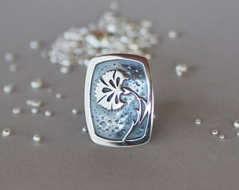 Silver Carnation Ring, Oxidized Silver Overlay, Flower Ring, Carnation Flower Ring, US Size 8.5