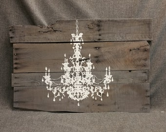 Pallet Wall Art Chandelier, Reclaimed wood, Gray wood, hand painted, ORIGINAL, One-of-a-kind, Baby Girl Nursery, shabby chic