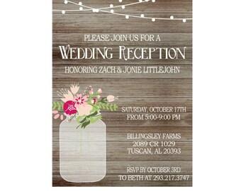 Rustic Wedding Reception Invitation with Lights, Mason Jar invite, Reception Only Invitation-Printed Invitations or Digital File