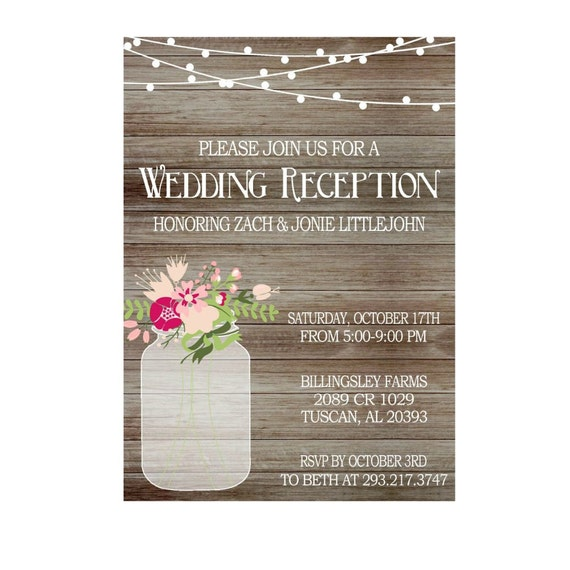 wedding reception only invitations rustic wedding reception invitation with lights jar 9905