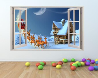 Festive CHRISTMAS Santa Window Effect Wall Art Sticker (cm012)