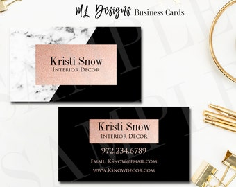 Marble Business card Marble Black Rose Gold Premade Digital File  Business Card Printable Business