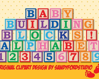 Baby Blocks Alphabet - full alphabet and numbers in 7 colors - png's - Instant Download