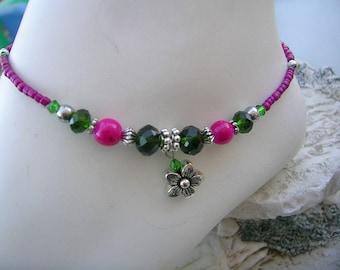 Colorful flower ankle bracelet.