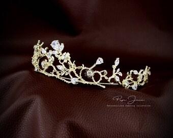 Rhinestone Bridal Tiara Zirconia flower crown Princess Wedding Tiara Crystal Bridal headpiece Dramatic headpiece Gold Tiara Silver Tiara