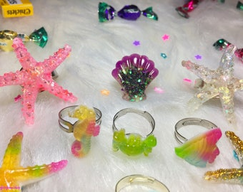 Sparkly Summer seashells & mermaid hair clips barrette rings