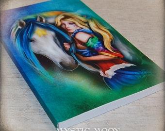 Brite and Starlight - Rainbow Brite Inspired Lined Journal - Soft Cover - Rainbow Brite and Starlight Fan Art Inspired Journal