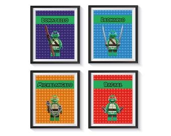 Teenage Mutant Ninja Turtle Art Prints, TMNT Bedroom, Playroom, Boy Decor - Qty 4