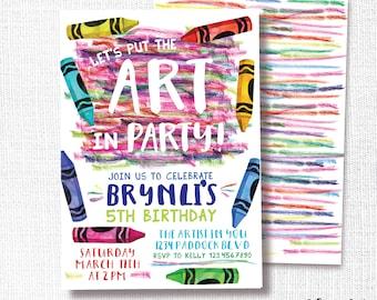 Art Birthday Party Invitation, Printable, Crayon Invite, Coloring, Color, Scribble, Girl, Boy, Rainbow