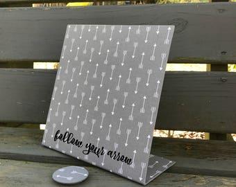 Follow Your Arrow, Magnetic Board, Desktop Organizer, Desk Accessory, Decorative Magnetic Board, Grey Arrow Fabric, Graduation Gift, New Job