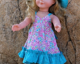 "Halter Sundress & Matching Reversible Wide Brimmed Hat for 18"" Doll like American Girl"