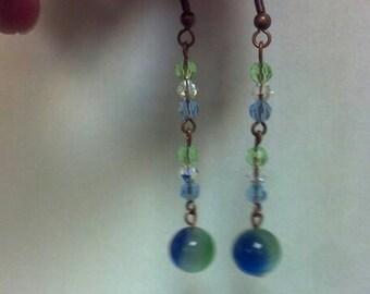 blue, green earrings, bead earrings,