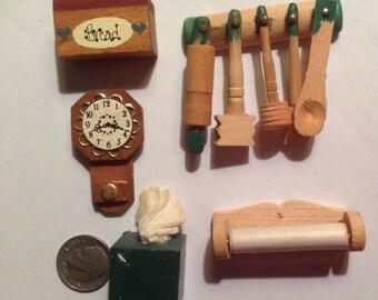Dollhouse Miniature Wooden  kitchen items
