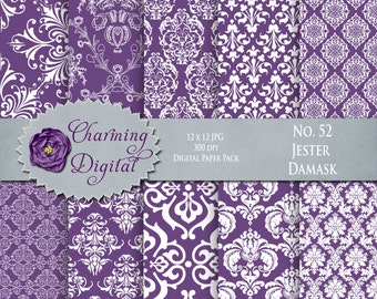 Purple Damask Digital Paper, Purple Scrapbooking Paper, No. 52 Jester Purple Damask