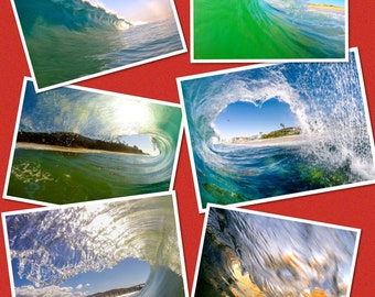 Set of 6 - 5 x 7 Blank Note Cards of Waves