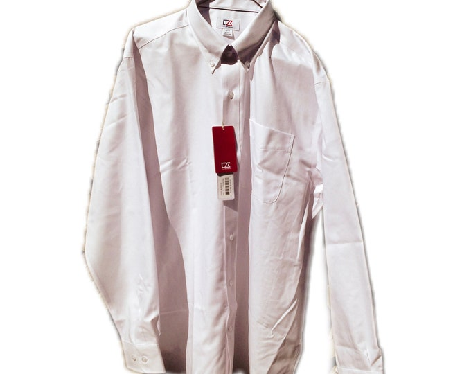 Large Cutter & Buck MCW09316 Easy Care Royal Oxford Long Sleeve Shirt
