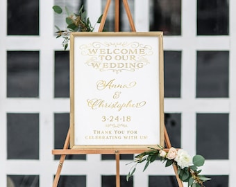 Gold Wedding Welcome Sign. Printable Welcome Sign. Printable Welcome Sign Wedding. Wedding Welcome Sign Printable. Welcome To Our Wedding