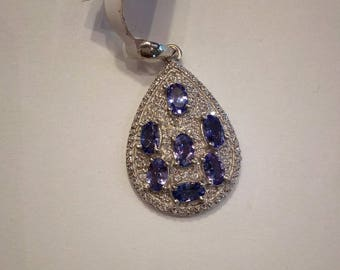 925 Sterling Silver Natural Tanzanite & Cz Gemstone Pendant Jewelry