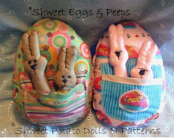 Primitive Country Easter Egg Bunny Large Ornie Instant Download