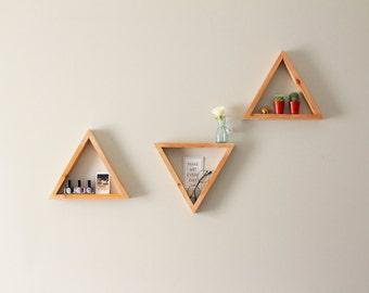 Triangular shelves,triangle shelves,wall shelves,geometric shelves,contemporary shelves,rustic shelves,modern shelves,set of 3