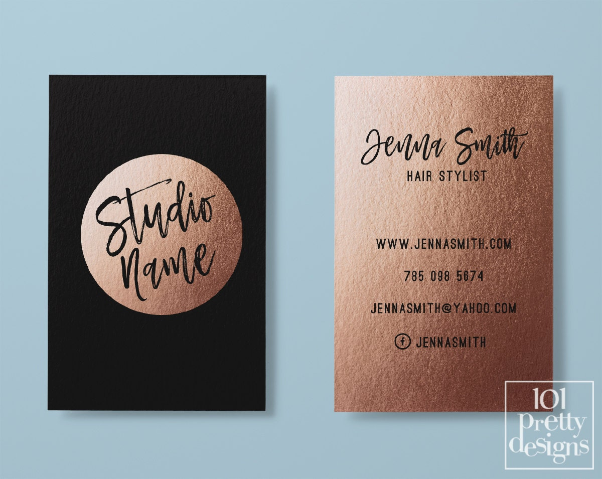 Rose gold business card makeup business card black gold