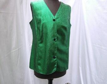 Vest, green Vest, Women, Vest Size L, handmade Vest
