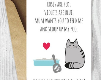 DIY for Him Valentines Card Printable for Dad UK, Funny Cat Valentines Day Card, Valentines Day Cards for Cat Dads, Valentines From the Cat