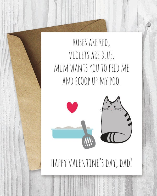 DIY For Him Valentines Card Printable For Dad UK Funny Cat