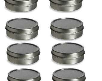2 oz Solid Top Tin Containers- Round, Silver : Set of 8