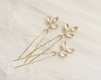 Crystal Hair Pins, Wedding Hair Pins, Gold Leaf Hair Pins, Bridal Hairpiece, Rhinestone Hair Pin, Crystal Bridal Hair Accessories, Gold Pins