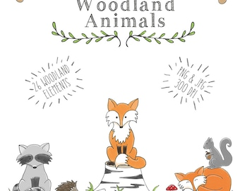 Woodland Animal Clipart, Woodland Creatures Clipart, Fall Clipart, Hand Drawn Small Commercial or personal use