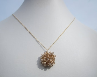 Golden Crystal Cluster Necklace