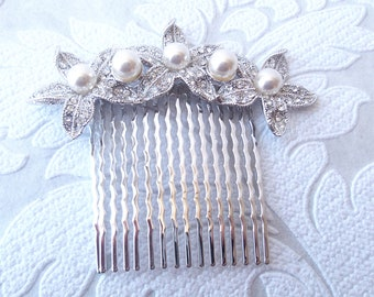 Floral Hair Comb for Bride or 1920s Prom with Pave Swarovski Crystal Vintage Glam Wedding Hairstyle Jewelry Pageant Headpiece