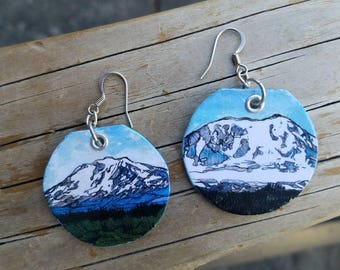 Mt Adams - pdx hand-painted mountain earrings - Washington State nature
