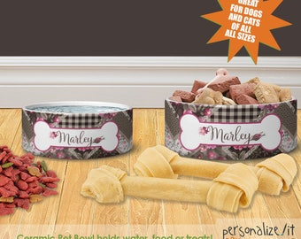 Pink Patchwork Personalized Dog Cat Ceramic Pet Food Bowl Custom Cat Bowl Dog Bowl Pet Bowl Pet Placemat Set Dog Cat Lover Gift Feeding Bowl